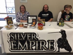 Silver Empire authors S.D. McPhail (left) and Russell Newquist (right) at the second annual Catfish Literary Fiestival.